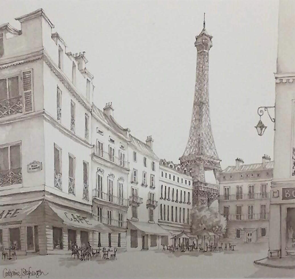 Catherine J. Stephenson - Paris Cafe and Eiffel Tower (CS1247 ...