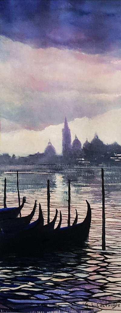 Venice as The Sun Goes Down GC43  Watercolour 6 x 15